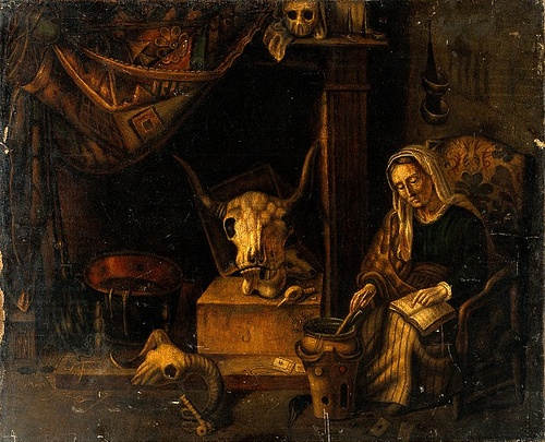 Witch preparing a spell