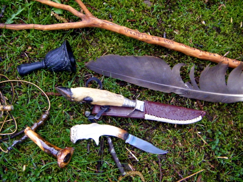 The Witch's hawthorn stang and other tools