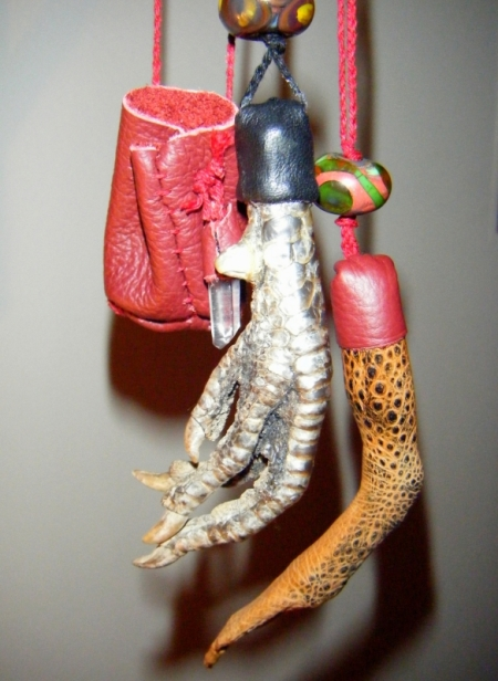 Deer crane bag, black rooster's foot & toad's foot talismans