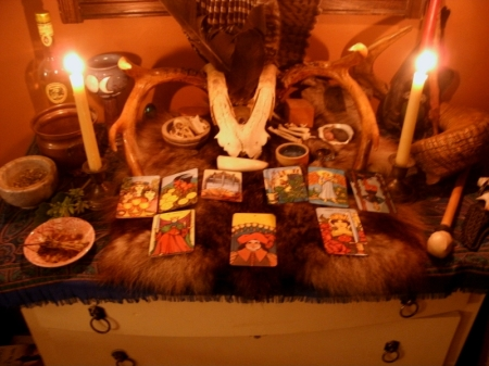 reading tarot at the bone altar