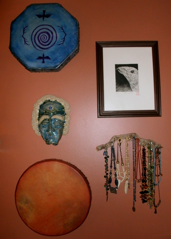 drums on the wall by my altar