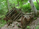 Horse-drawn farm machinery can be found rotting in the woods