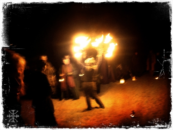 Fire Dancer at the lake for the lantern procession