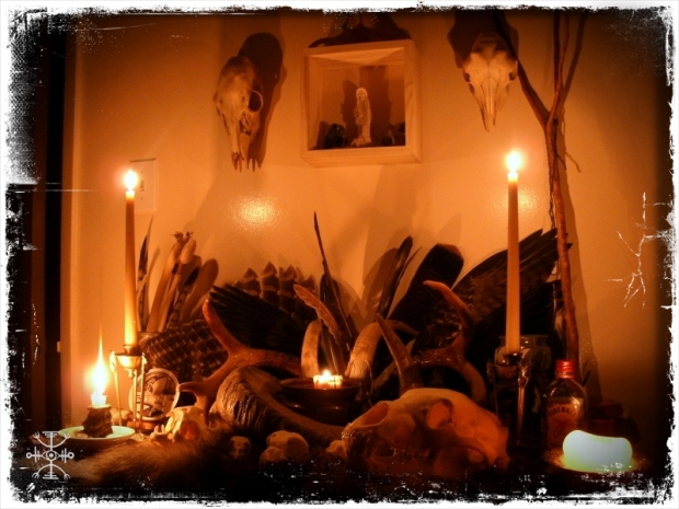 Altar ablaze for the full moon